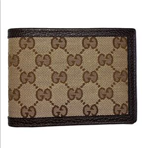 Gucci GG Supreme Canvas Leather Bifold Wallet